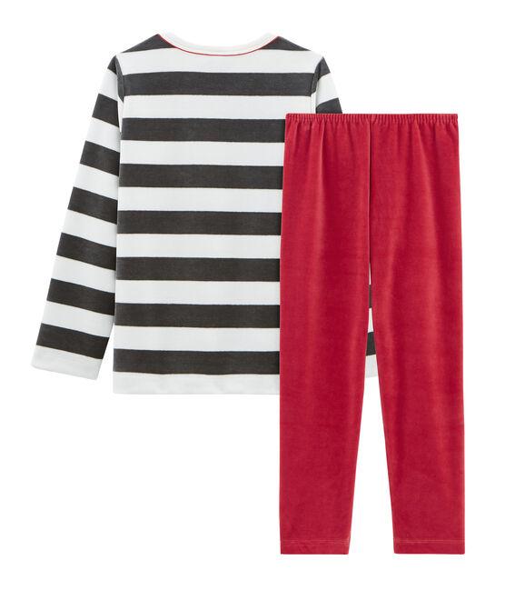 Pyjama petit garçon en velours rouge Terkuit / blanc Multico
