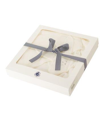 Vierkante badjas en babyknuffel van BE en tubic wit Marshmallow / wit Multico