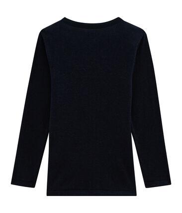 T-shirt met lange mouwen kinderen van katoen wol zijde blauw Smoking