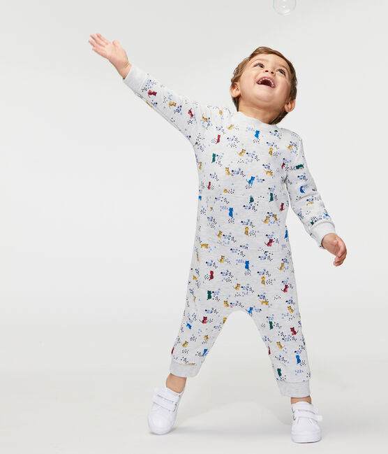 Lang pakje met print babyjongen grijs Beluga / wit Multico