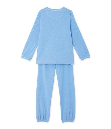 Pyjama fille rayé milleraies bleu Delphinium / blanc Ecume