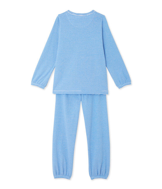 Meisjespyjama met milleraies-strepen blauw Delphinium / wit Ecume
