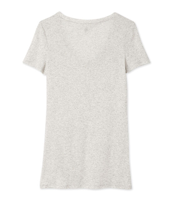 T-shirt femme col V en coton léger gris Beluga Chine