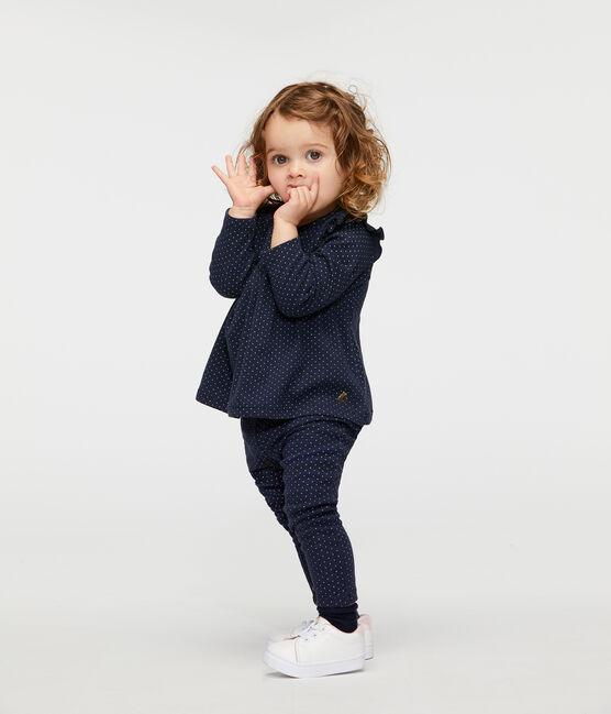 Blouse met lange mouwen met print babymeisje blauw Smoking / wit Marshmallow