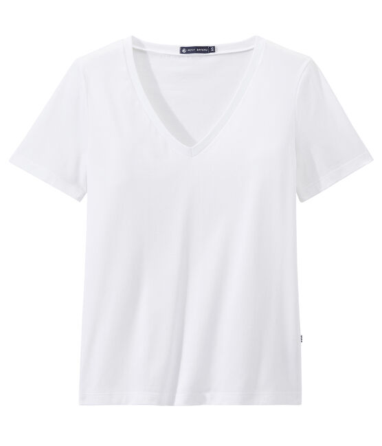 Dames-T-shirt V-HALS uit fijne jersey wit Ecume
