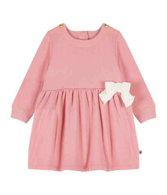 Jurk met lange mouwen babymeisje van mesh-fluweel roze Charme