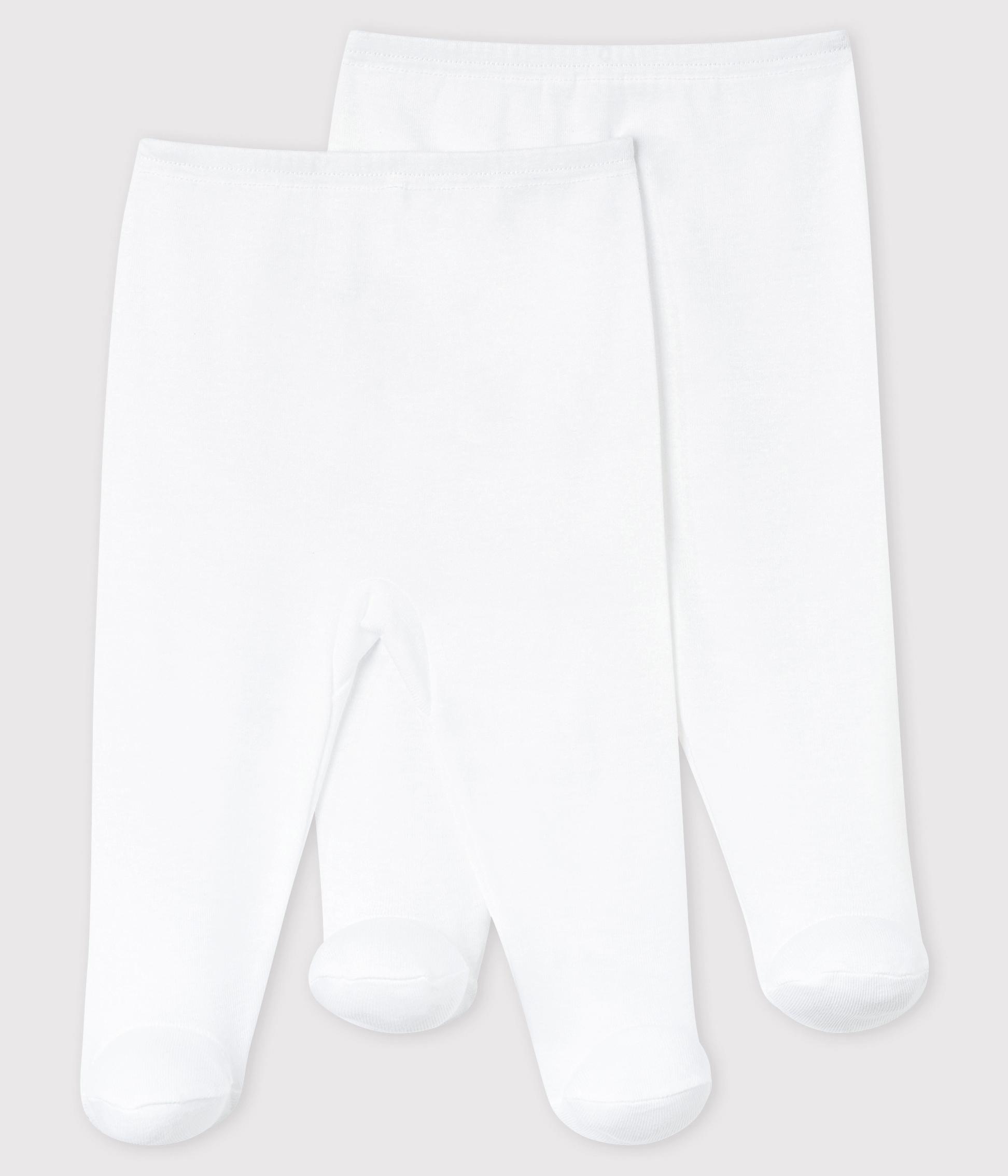 Set Van 2 Witte Broeken Met Voetjes Voor Baby Petit Bateau